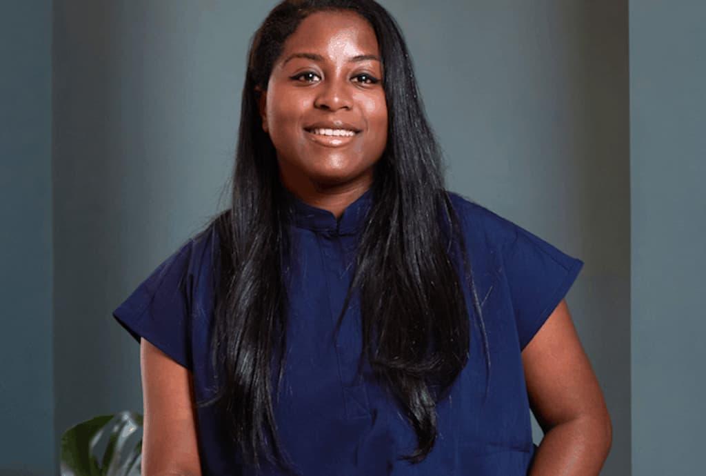Dr Lauren Hamilton from London aesthetics clinic Victor & Garth in scrubs